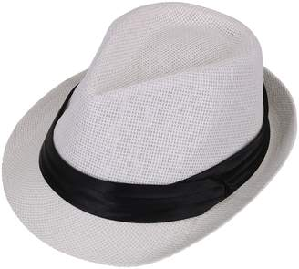 AshopZ Women Men Summer Double Colors Straw Fedora Hat w  Rasta Band 152ed2f37b3d
