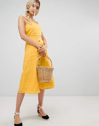 Warehouse midi dress with button front in yellow