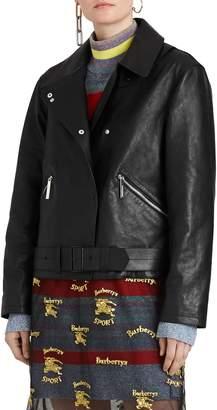 Burberry Burnham Tartan Lined Leather Biker Jacket
