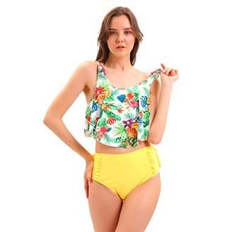 COANA Flounce Ruffle High Waisted Bikini Set Swimsuit for Women Cute Bathing Suit M