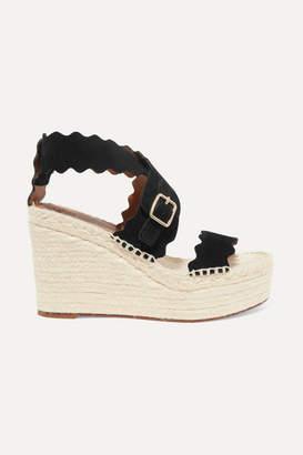 2abcc4d8c86 Chloé Lauren Scalloped Suede Espadrille Wedge Sandals - Black