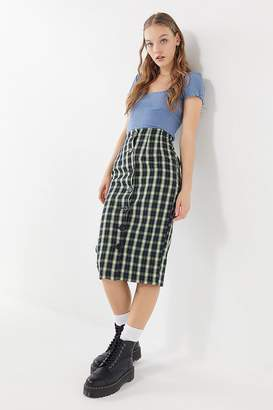 Urban Renewal Vintage Remnants Plaid Button-Front Midi Skirt