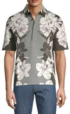 Valentino Floral Short-Sleeve Polo