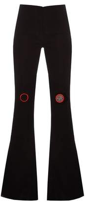 Thomas Tait - High Rise Flared Crepe Trousers - Womens - Black Red