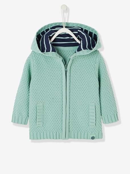 Baby Boys' Cardigan with Zip & Hood - green light solid