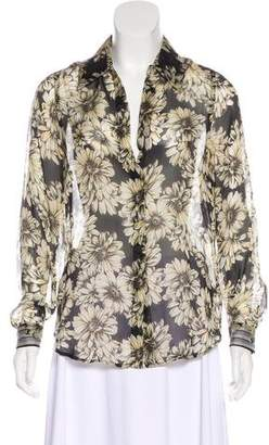 L'Agence Floral Print Silk Top