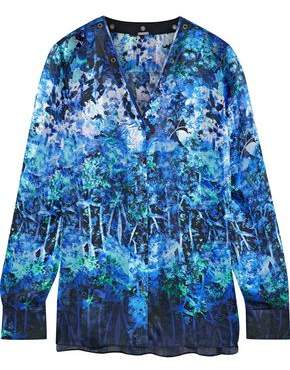 Elie Tahari Lydia Leather-Trimmed Floral-Print Silk Blouse