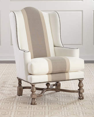 Massoud Natural Colorblock Wing Chair