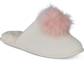 INC International Concepts I.n.c. Pom Pom Knit Slippers