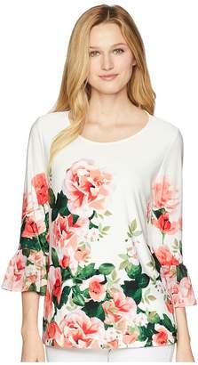 Calvin Klein Printed 3/4 Top w/ Chiffon Women's Clothing