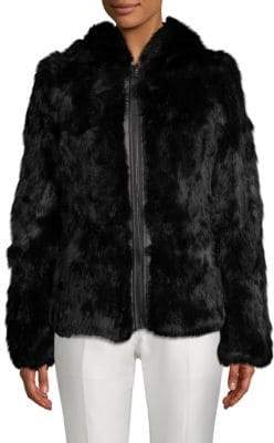 Adrienne Landau Reversible Rabbit Fur Zip-Front Coat