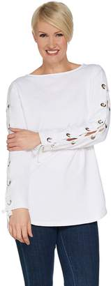 Susan Graver Weekend French Terry Tunic with Lacing Detail