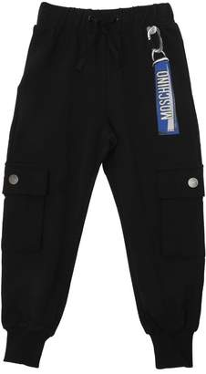 Moschino Logo Printed Cotton Fleece Pants
