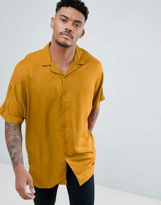 Asos Design DESIGN Oversized Viscose Batwing Sleeve Shirt In Mustard
