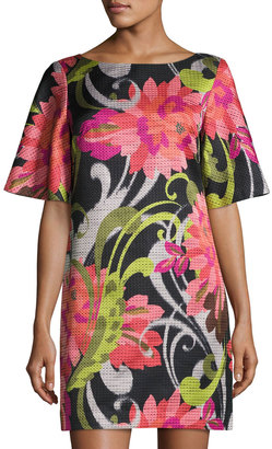 Trina Turk Floral Jacquard Half-Sleeve Shift Dress $239 thestylecure.com