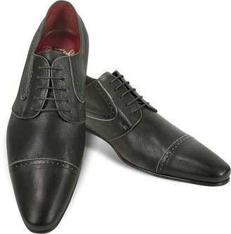 Fratelli Borgioli Handmade Black Calf Leather Cap Toe Shoes