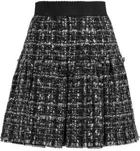 Dolce & Gabbana Pleated Wool-Blend Tweed Mini Skirt