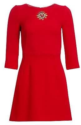 Dolce & Gabbana Dolce& Gabbana Dolce& Gabbana Women's Three-Quarter Sleeve Embellished Heart Wool Dress