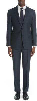 Emporio Armani G-Line Trim Fit Plaid Virgin Wool Suit
