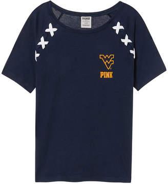 PINK West Virginia University Crop Lace-Up Raglan Sleeve Tee