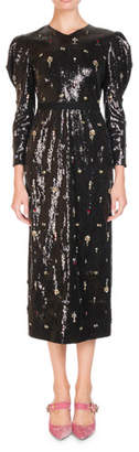 Erdem Emmy Ditsy-Stone Embellished Puff-Sleeve Midi Dress