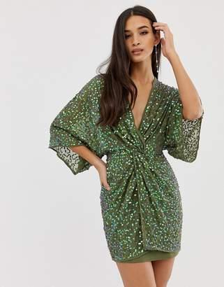 Asos Design DESIGN scatter sequin knot front kimono mini dress