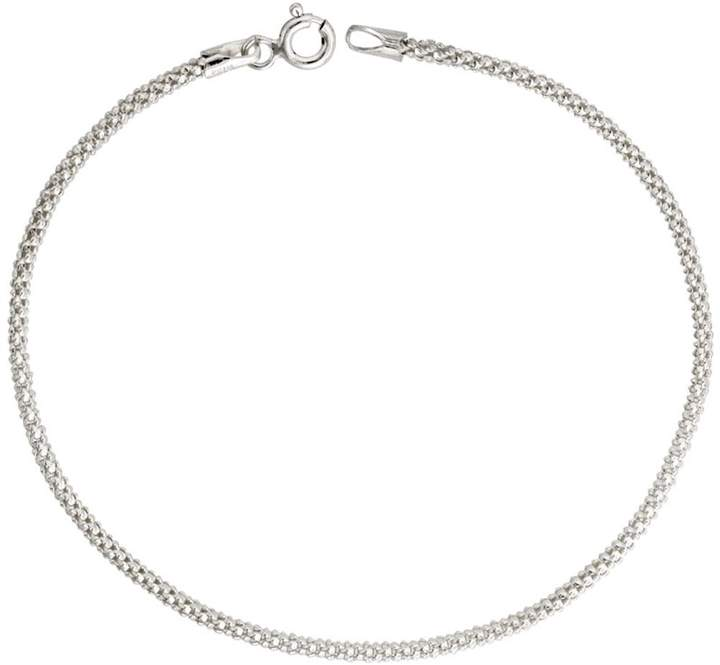 Sabrina Silver Sterling Silver Popcorn Chain 1.8mm Light Weight Nickel Free Italy, 18 inch