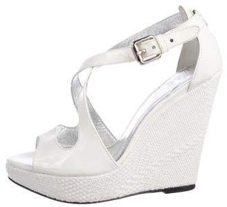f8252e37dd25 Burberry Patent Leather Peep-Toe Wedge Sandals