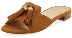 Stuart Weitzman Suede Open-Toe Slide Sandal with Tassels