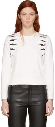 Neil Barrett Off-White Tonal Thunderbolt Sweatshirt