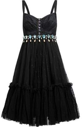 Dolce & Gabbana Flared Embellished Lace Satin And Point D'esprit Dress
