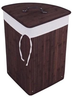 Goplus Corner Bamboo Washing Cloth Hamper Laundry Basket Bin Storage Bag Lid Brown