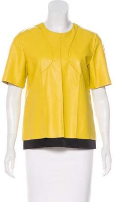 Cédric Charlier Vegan Leather Short Sleeve Top