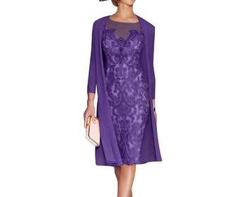 APXPF Women's Mother of The Groom Dresses Tea Length with Jacket