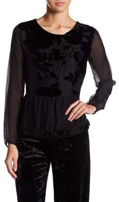 Luma Silk Blend Floral Velvet Accent Blouse