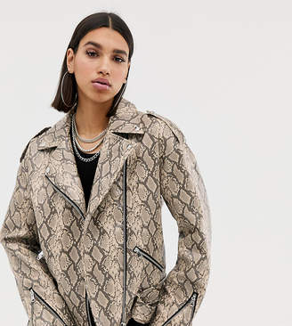 Missguided faux leather biker jacket in snake