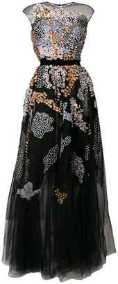Talbot Runhof floral embellished tulle dress