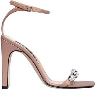 Sergio Rossi 105mm Embellished Leather Sandals
