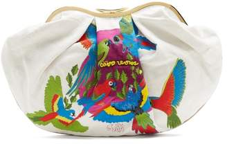 Kilometre Paris - Cuba Embroidered Linen Clutch - Womens - White Multi