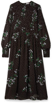 Ganni Rometty Smocked Printed Georgette Midi Dress - Black