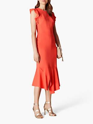 Karen Millen Frilly Fitted Pencil Dress, Coral
