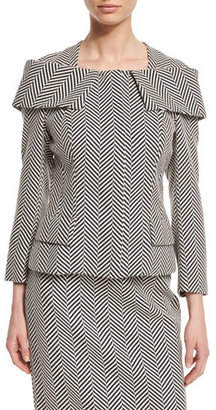 Escada Herringbone Off-the-Shoulder Collar Jacket, Black $1,425 thestylecure.com