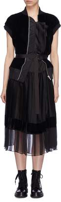 Sacai Velvet bomber panel pleated dress