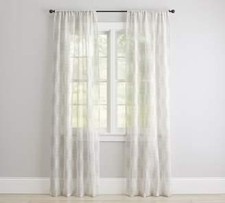 Pottery Barn Reeta Print Sheer Curtain - Flax