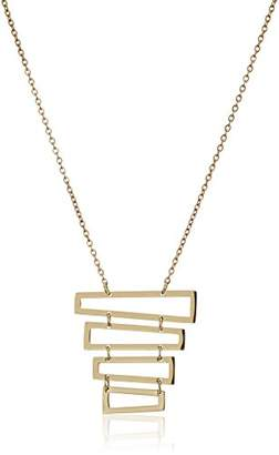 ELYA Jewelry Womens Plated Plated Polished Rectangles Stainless Steel Pendant Necklace