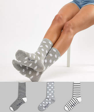Pepe Jeans 3 pack socks in stripe and spot