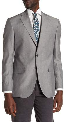 David Donahue Grey Sharkskin Two Button Notch Lapel Classic Fit Sport Coat
