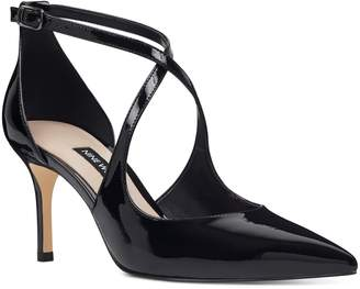 Nine West Micael Cross Strap Patent Pump