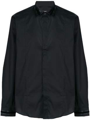 Les Hommes leather collar shirt