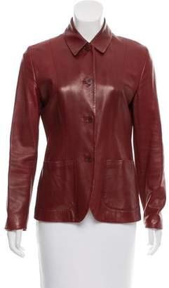 Calvin Klein Collection Button-Up Leather Blazer